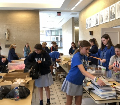 Cancer Comfort Kit and Busy Bag Volunteer  fill with Villa Maria Academy