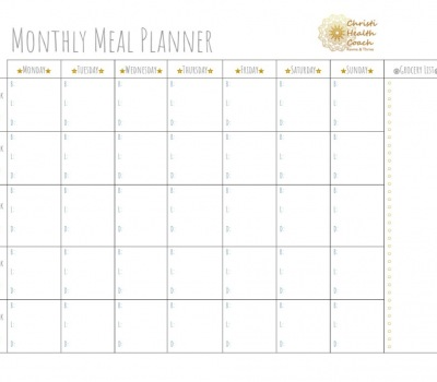 One Month Meal Planner